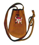 Pouch with Buffalo Skulll Charm